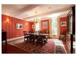 The dining room has coffered ceilings.