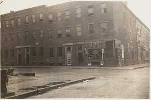 South Boston tenements on the northeast corner of W. 4th & B Streets just before they were demolished in 1934.