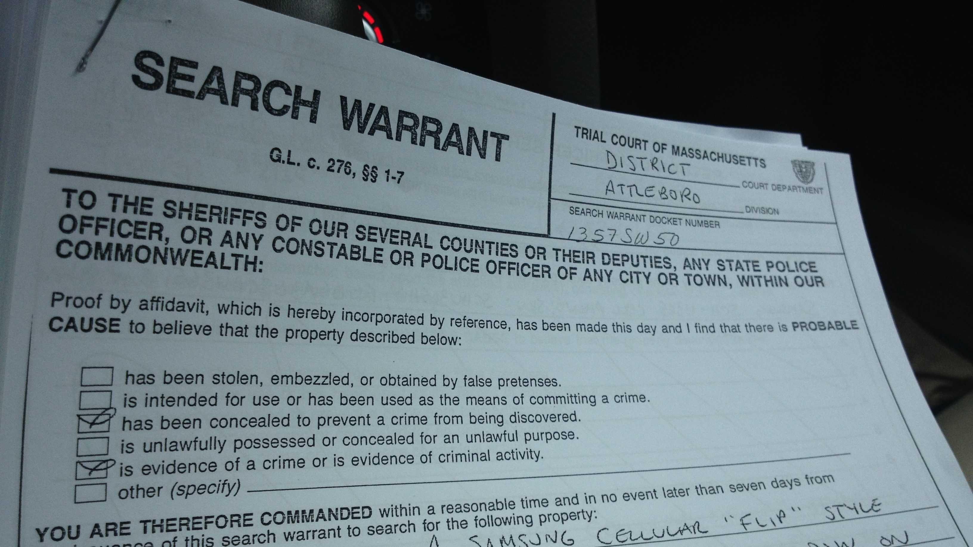 Hernandez search warrant wrentham 070313