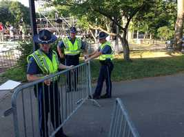 With the city's first large public gathering since the Boston Marathon bombings, security on the Esplanade is extremely tight this July 4th.