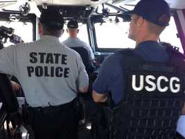 State police and the U.S. Coast Guard working together