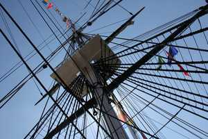 A look up at the boat's sails. The USS Constitution is the oldest commissioned warship still afloat in the world.