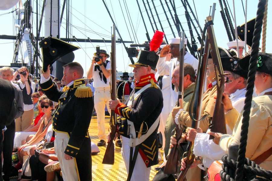 Many members of the Navy on board the ship for the special Fourth of July voyage wore outfits similar to those from the revolutionary period.