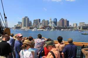 The view of the city of Boston from the USS Constitution.