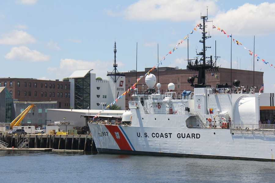 An additional 17-gun salute was held near the U.S. Coast Guard Base in Boston.