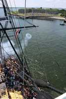 The view of the 21-gun salute from the top of the USS Constitution.
