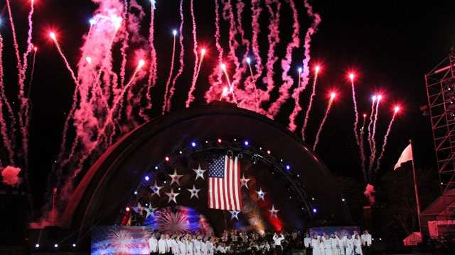 "Fireworks over the Hatch Shell with the conclusion of ""Stars and Stripes Forever."""