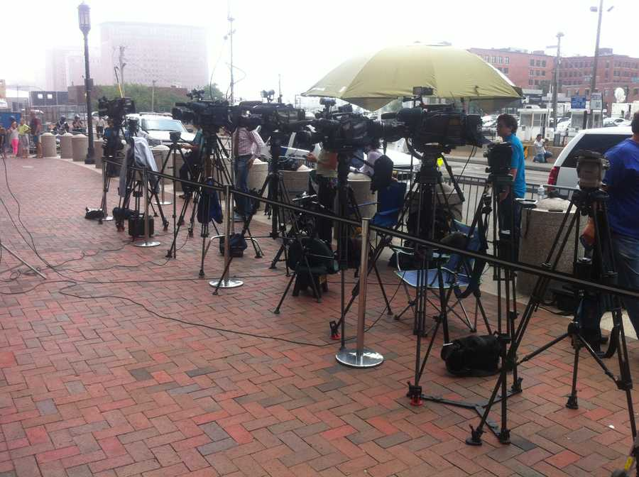Media from around the world were positioned outside the courthouse.