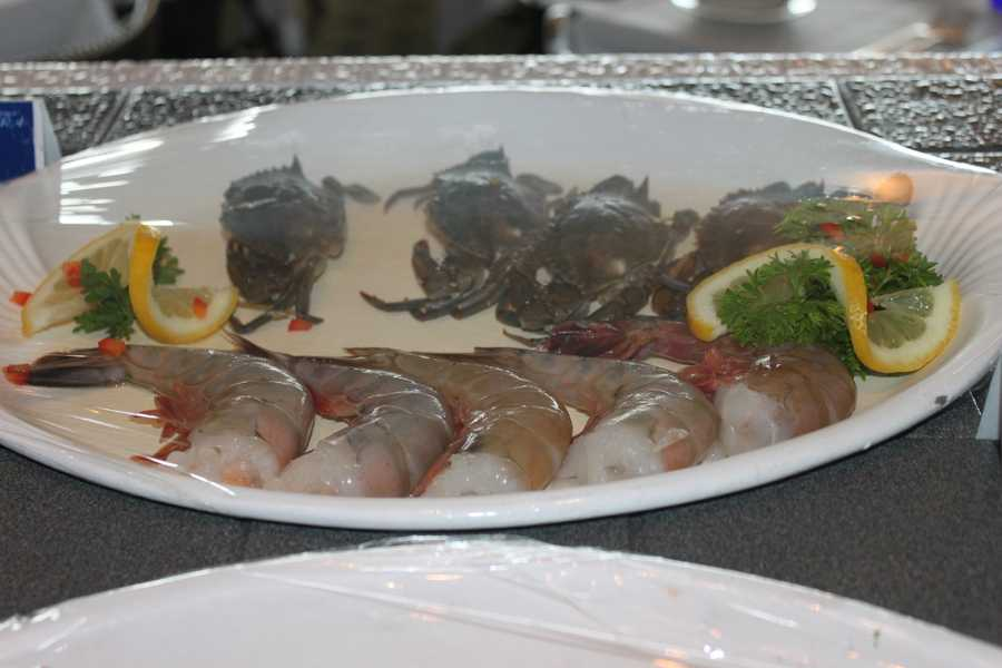 A selection of dishes were displayed in the front section of the dining hall