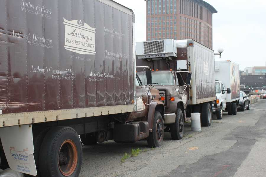Anthony's Pier 4 trucks were parked right outside the restaurant, along the water (Area at time of restaurant's July 2013 closing)