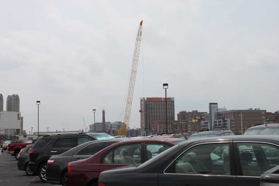 Construction interrupted the parking lot (Area at time of restaurant's July 2013 closing)