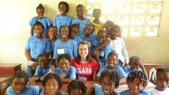 Amanda Mundt working with students in Les Cayes, Haiti in 2011.