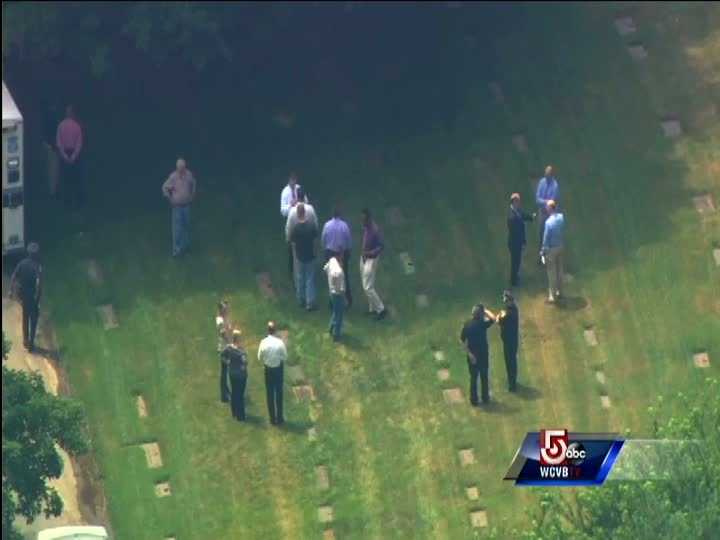Members of the Boston Police department gathered around the gravesite of DeSalvo shortly after 1 p.m. Friday.