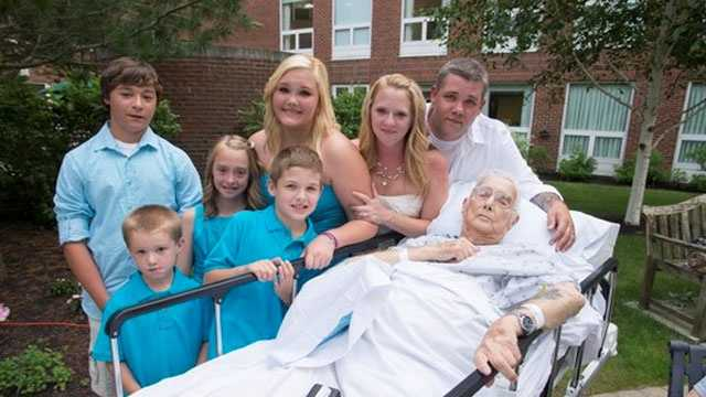 Donald Weaver with his grandson, Danny, his wife, Paula, and family at Emerson Hospital.