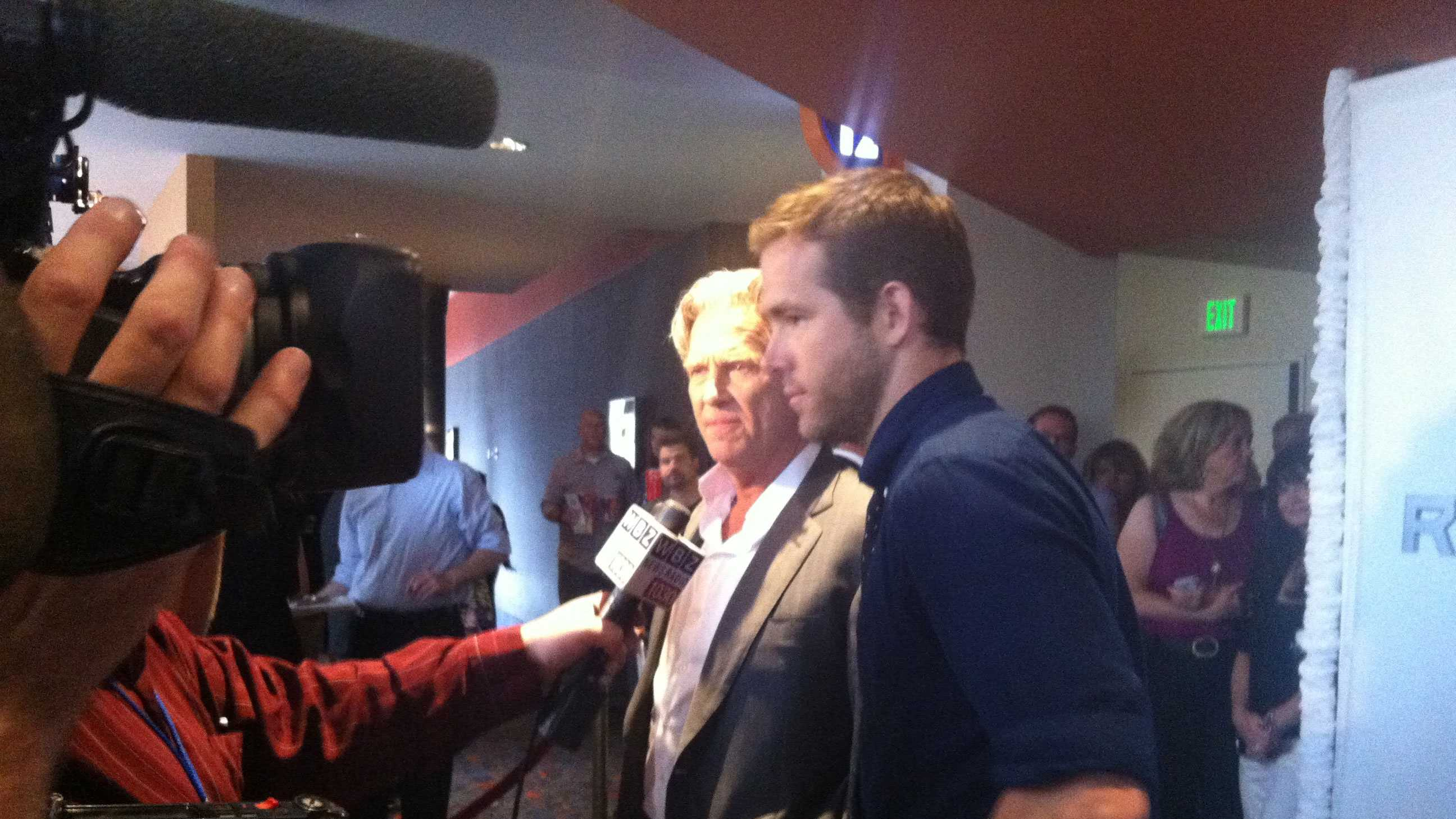 "Actors Jeff Bridges and Ryan Reynolds at the Boston advanced screening of ""R.I.P.D."""