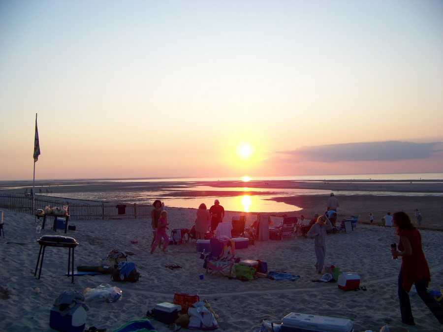 Mayflower Beach on Cape Cod Bay, is a popular spot for families. During low tide, hundreds of feet of tidal flats are revealed.