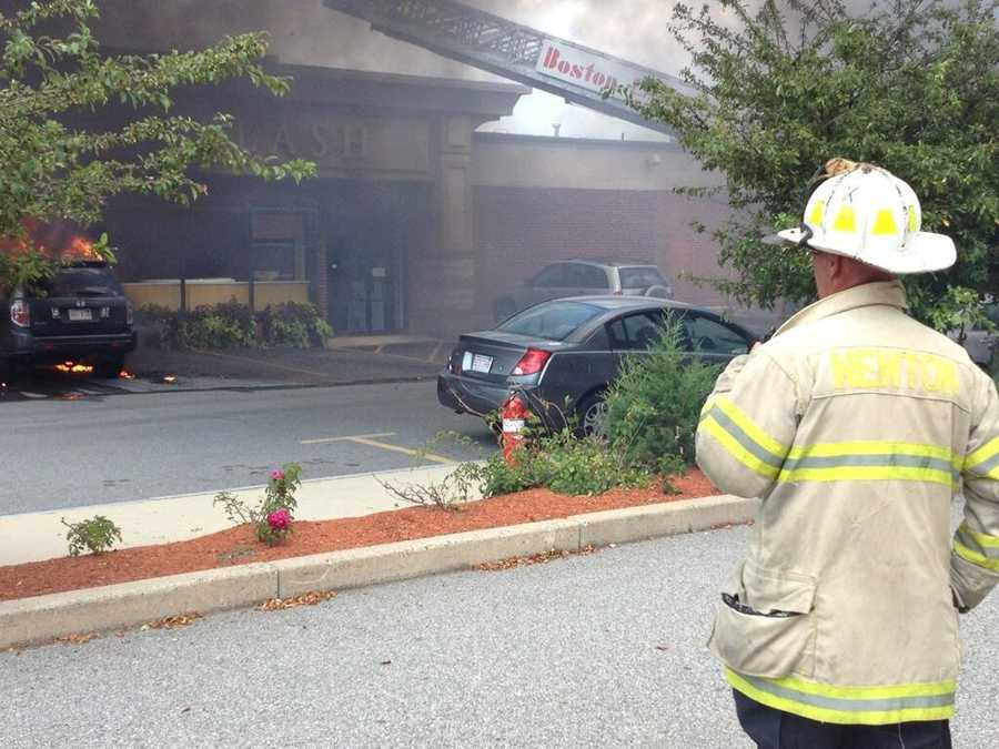 The Newton Fire Department provided these photos of the fire outside the store.