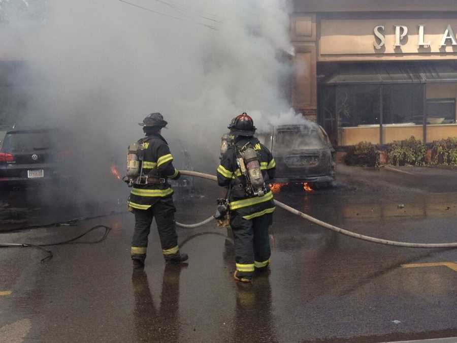 Once power was cut to the electrical line, fire crews were able to use their fire hoses to knock down the flames.