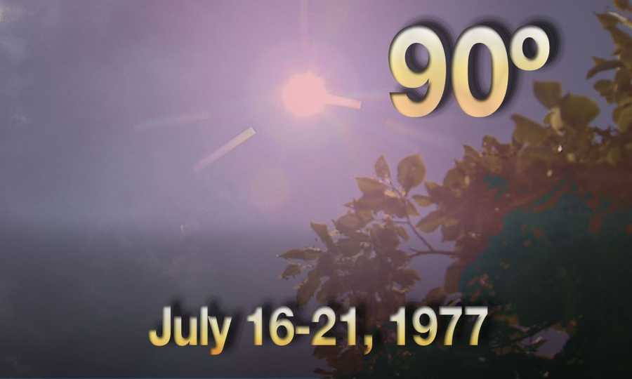 10) July 16-21, 1977 - we had six consecutive days of temperatures of 90 degrees or higher.