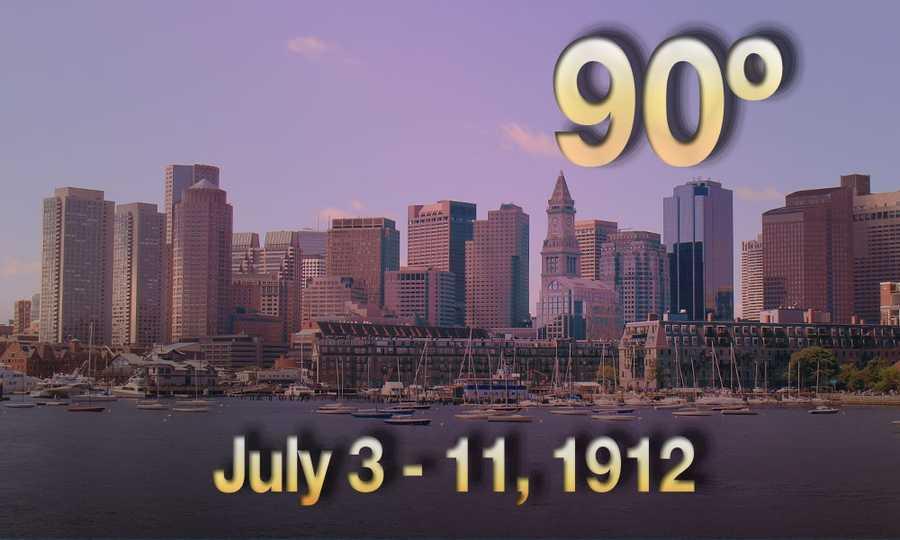 01) July 3-11, 1912 - The Hub experienced NINE days of 90 degree plus heat.