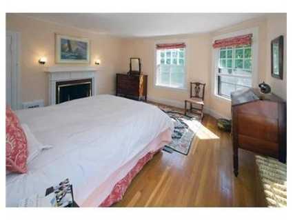 Sunlight fills this bedroom.