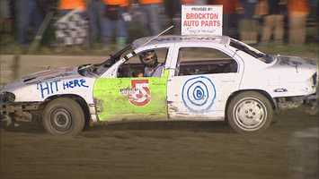 """But then there was the demolition derby at the Brockton fairgrounds. That did not go quite as well. Her car was called """"Chronicle Crunch."""""""