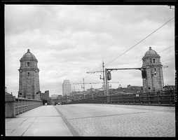 Roadway and towers on the Longfellow Bridge taken between 1934 and 1956
