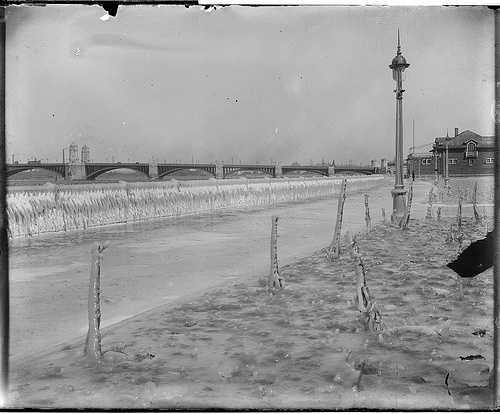 An ice-encrusted esplanade by the Longfellow Bridge. Taken between 1917-1934