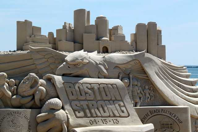 """The centerpiece of this year's sculptures is a monument to """"Boston Strong."""""""