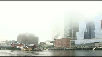 Fog sits over Boston.