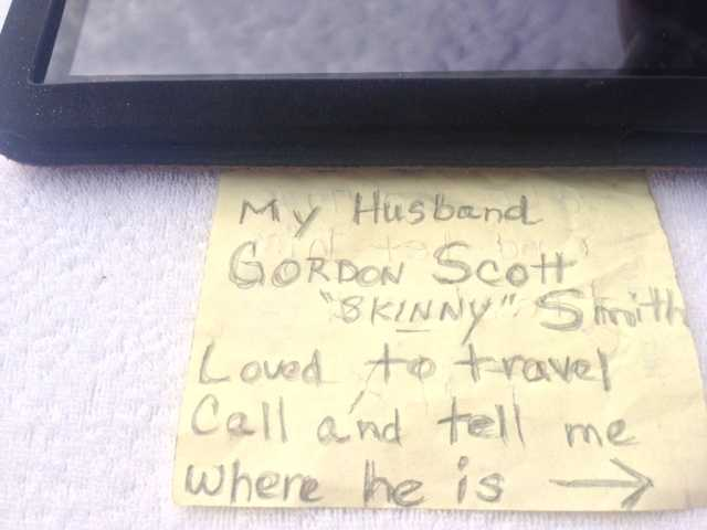 Gordon Scott Smith died at 57 from a sudden brain hemorrhage. Beverly Smith, his wife of 27 years, put some of his ashes in a bottle with $2 and a note.