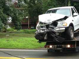 The truck's hood, cab, windshield were damaged in the crash.