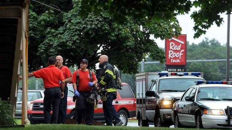 Firefighters at the Red Roof Inn Friday morning responded to a medical call and found unsanitary conditions and 8-10 dogs in the motel room. The woman was taken to the hospital by ambulance and the scene was turned over to Animal Control and the Board of Health