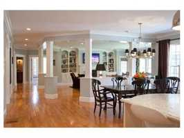 The kitchen flows into a spacious family room.