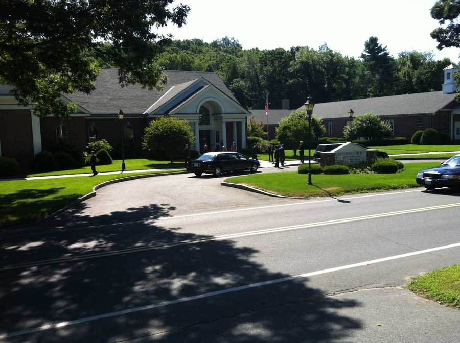 Mourners gather for Lord's funeral in Wilbraham.