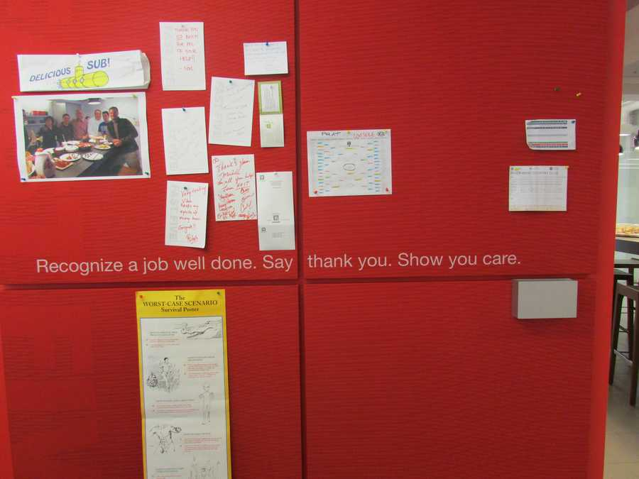 The creative members of the Velocity Lab leave notes for each other on this colorful wall at the entrance to the kitchen.