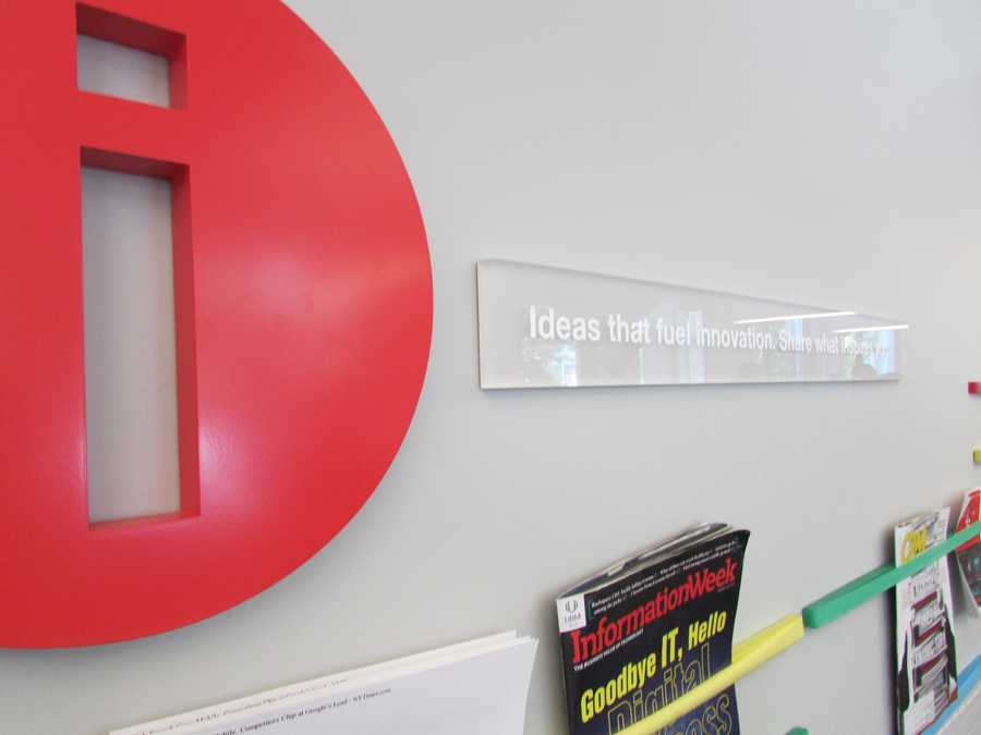 """The sign reads: """"Ideas that fuel innovation. Share what inspires you."""""""