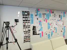 These planning boards line the walls of the Velocity Labs, displaying plans for the new mobile app and mobile website.