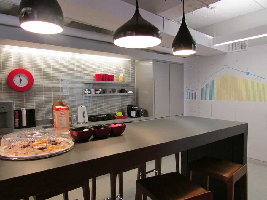 The kitchen at the Velocity Lab in Cambridge is a central meeting area for the employees.