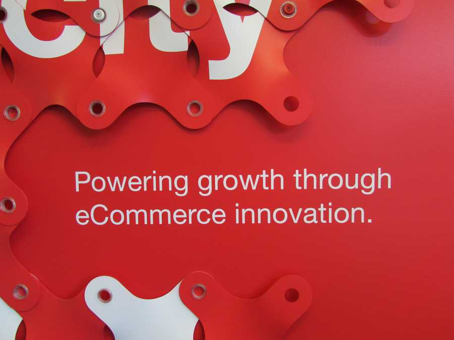 This sign, which hangs in the kitchen, reads: 'Powering growth through eCommerce innovation.'