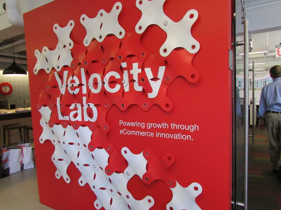 This sign hangs in the front entrance to the Velocity Lab
