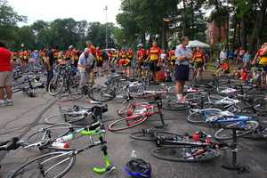 The Babson College parking lot filled with dozens of bikes prior to the start of the Pan-Mass Challenge.