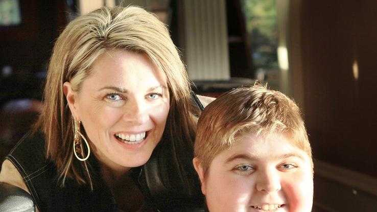 Christine McSherry, who founded the Jett Foundation to fight Duchenne muscular dystrophy, with son Jarrett in December 2011.