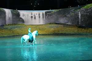 An underground water system is built to flood 80,000 gallons of water onto the stage for the finale.