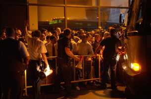Crowds line up for buses at Port Authority bus terminal in New York during a massive power outage Thursday, Aug. 14, 2003, that stretched from New York to Detroit and into Canada.