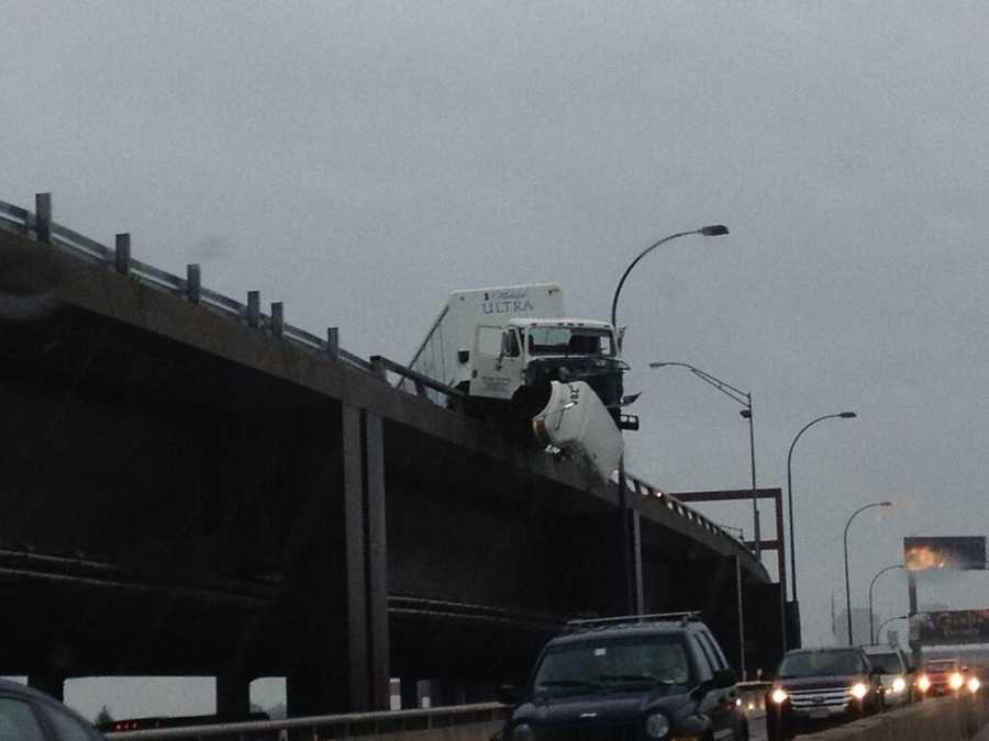 A truck crash on the northbound side of the Leverett Connector shut down traffic on Interstate 93.