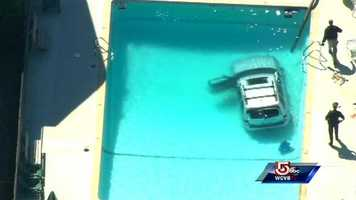 An SUV crashed into a Randolph pool on Wednesday.