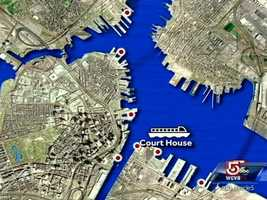 Seven stops begin at the Fan Pier marina, and move counter-clockwise around the harbor.