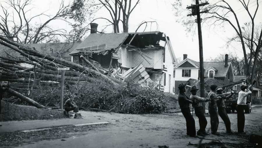 Damage at a house on Green Street in Keene.