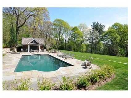 A gunite heated pool.